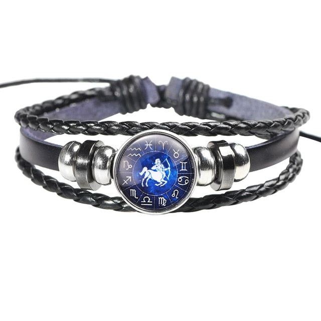 Twelve Constellation Leather Bracelet - K - Jewelry