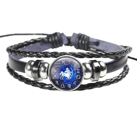Image of Twelve Constellation Leather Bracelet - K - Jewelry