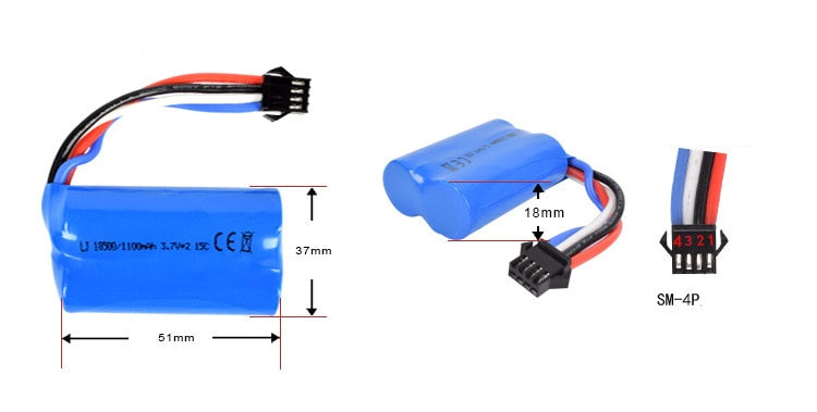 Lipo battery For UDI RC boat UDI001 - 2 pieces