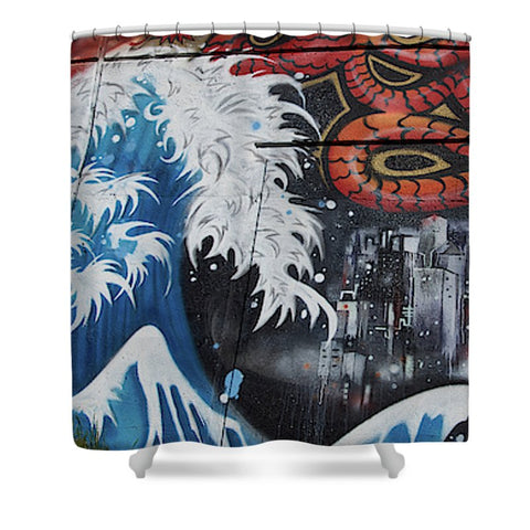The Big Wave - Shower Curtain - 71 X 74 Standard - Shower Curtain