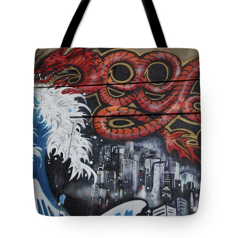 Image of The Big Wave - Tote Bag - 18 X 18 - Tote Bag