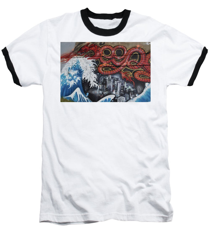 The Big Wave - Baseball T-Shirt - White / Black / Small - Baseball T-Shirt