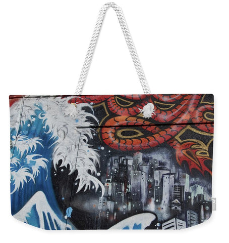 Image of The Big Wave - Weekender Tote Bag - 24 X 16 / White - Weekender Tote Bag