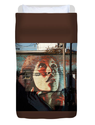 Image of Woman On The Wall - Duvet Cover