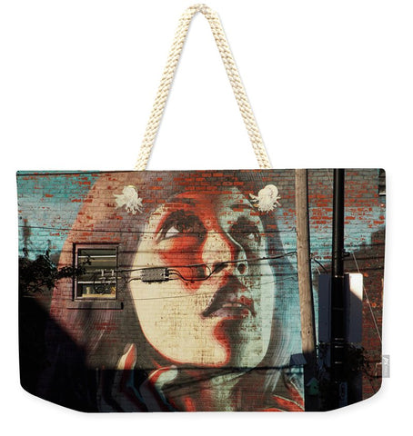 Image of Woman On The Wall - Weekender Tote Bag - 24 X 16 / Natural - Weekender Tote Bag