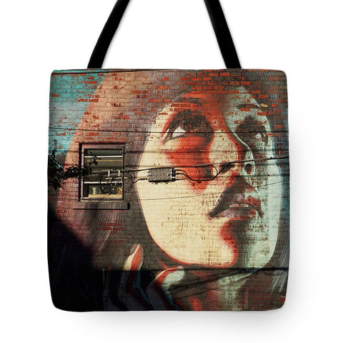 Image of Woman On The Wall - Tote Bag - 18 X 18 - Tote Bag