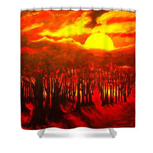 Wood End Of The Day - Shower Curtain