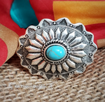 Concho Turquoise Stone Wild Rag Scarf Slide - Elk Hollow Designs