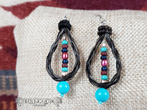 Braided Horse Hair Beaded Earrings - Elk Hollow Designs