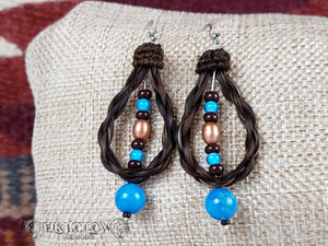 Braided Horse Hair Beaded Loop Earrings - Elk Hollow Designs