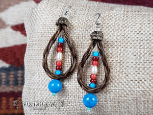 Braided Horse Hair Beaded Earrings
