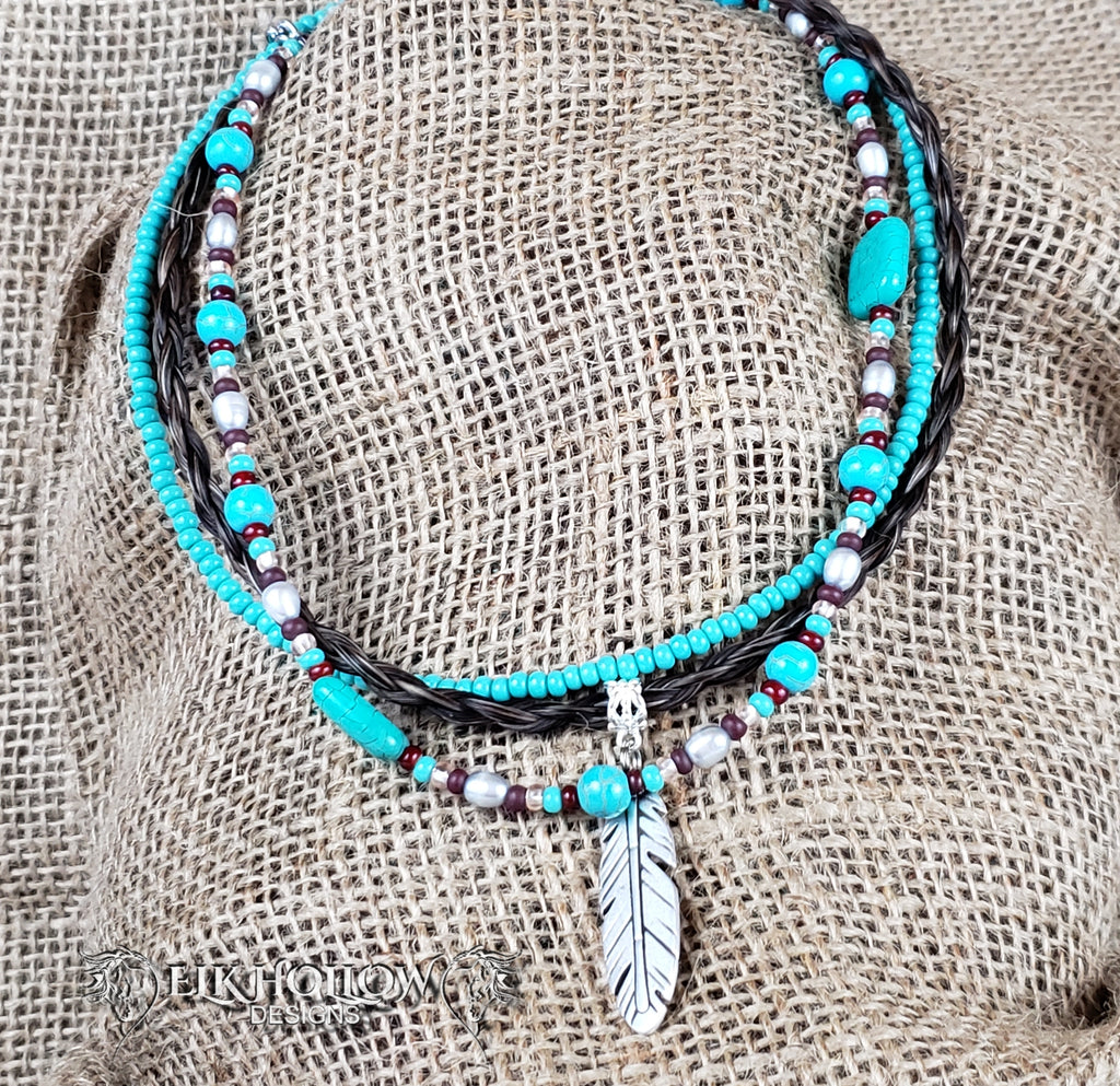 Feather Pendant Braided Horse Hair Necklace - Elk Hollow Designs