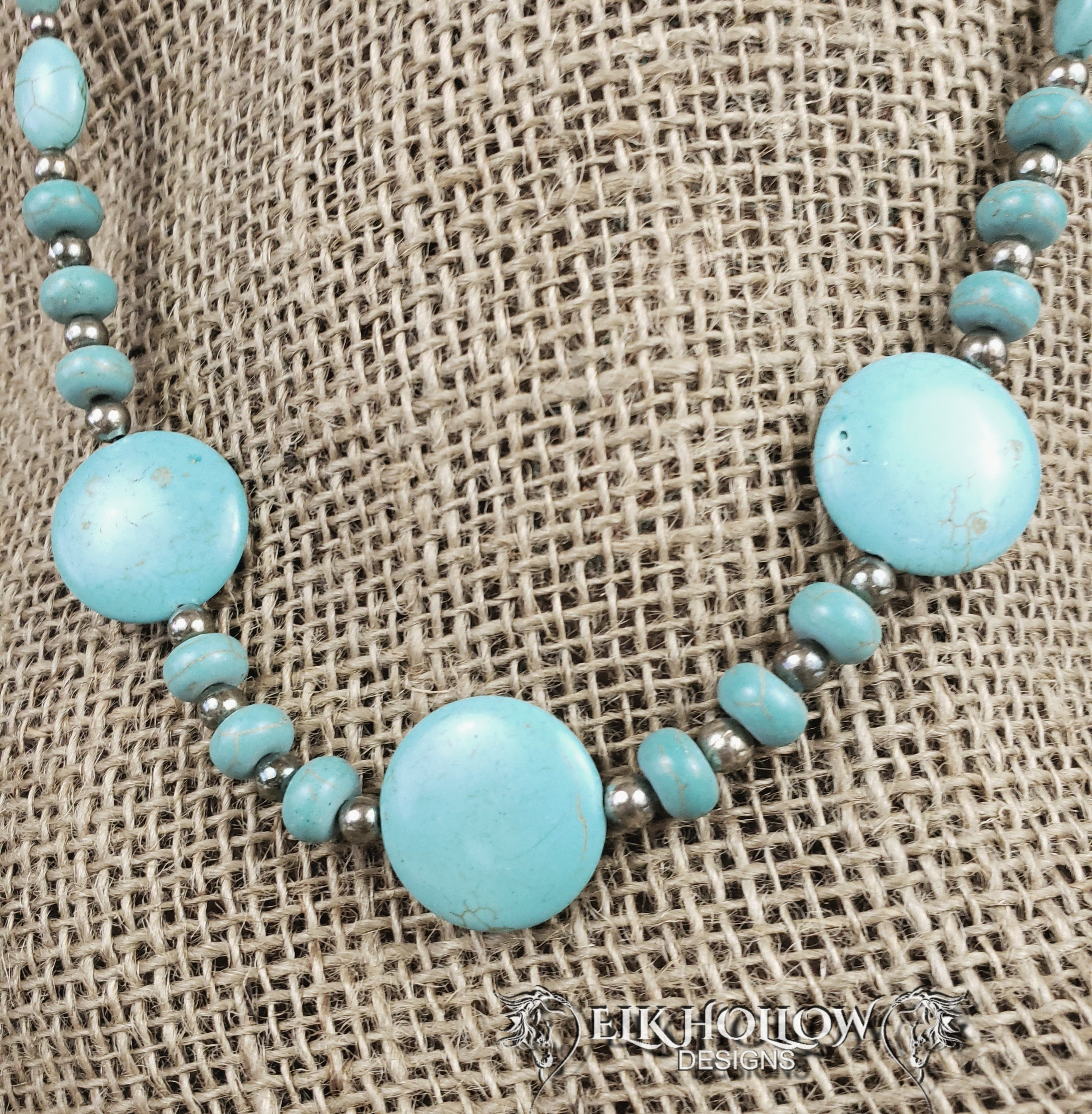 Turquoise Beaded Necklace - Elk Hollow Designs