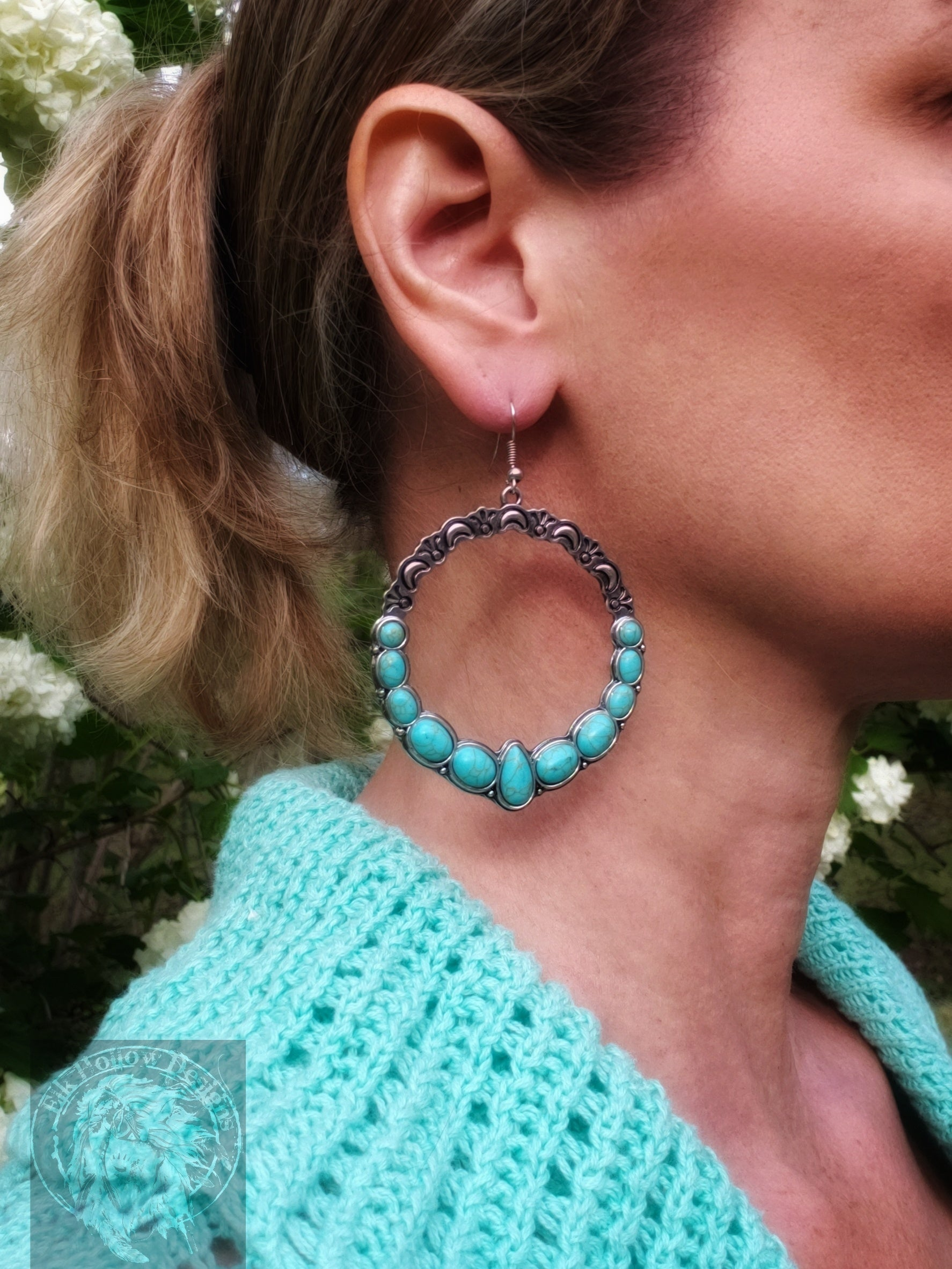 Sierra Turquoise Round Drop Earrings - Elk Hollow Designs