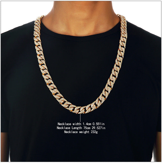 Hip hop bling fully iced out mens electroplated miami cuban link hip hop bling fully iced out mens electroplated miami cuban link chain gold necklace simulated gemstone hipster jewelry aloadofball Image collections