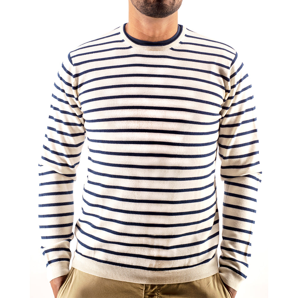 Breton Stripe Crew Neck Premium Merino Sweater