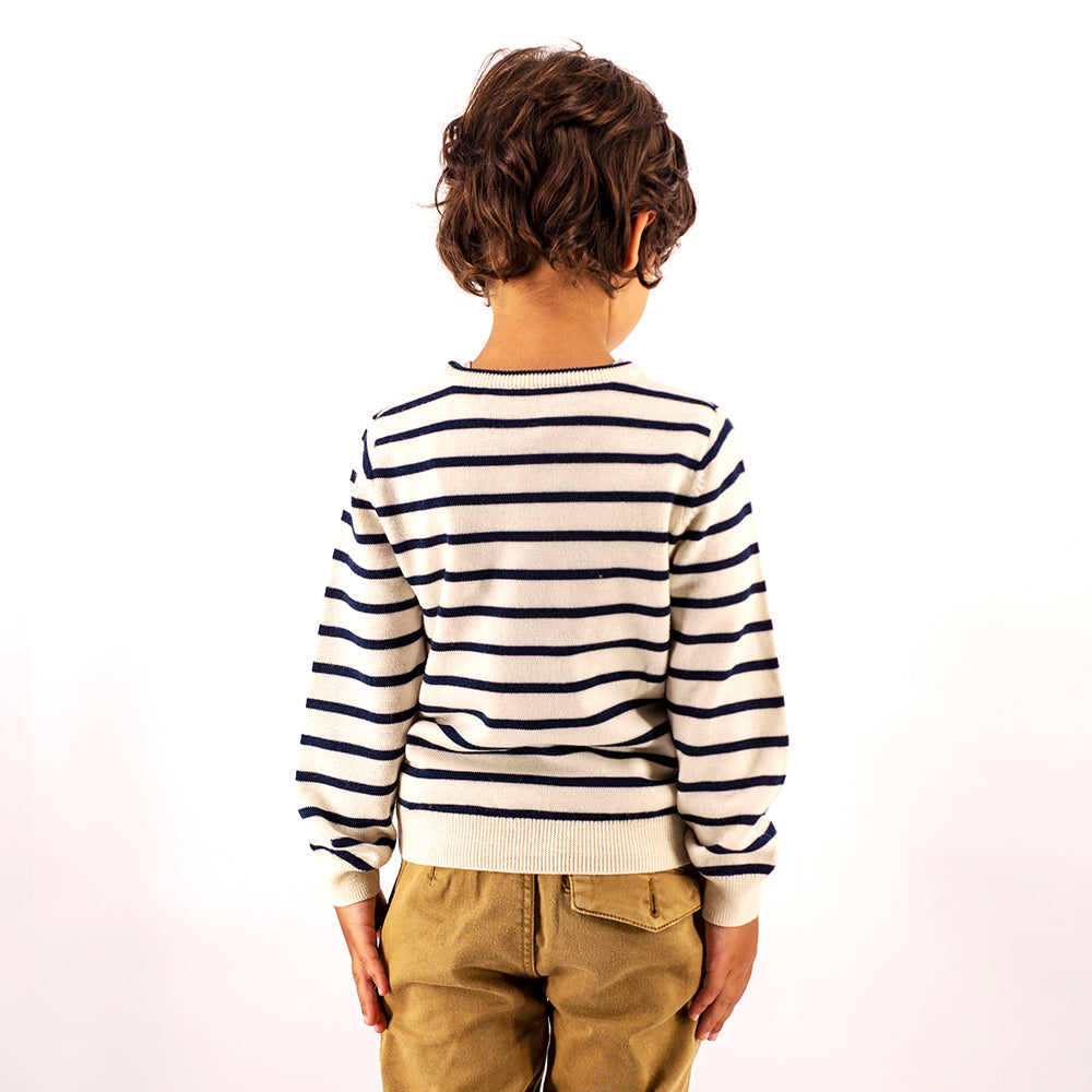 Kids Breton Stripe Crew Neck Premium Merino Sweater