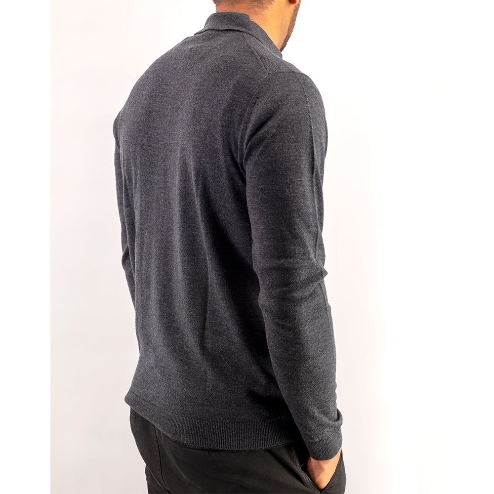 Charcoal Grey Premium Merino Polo