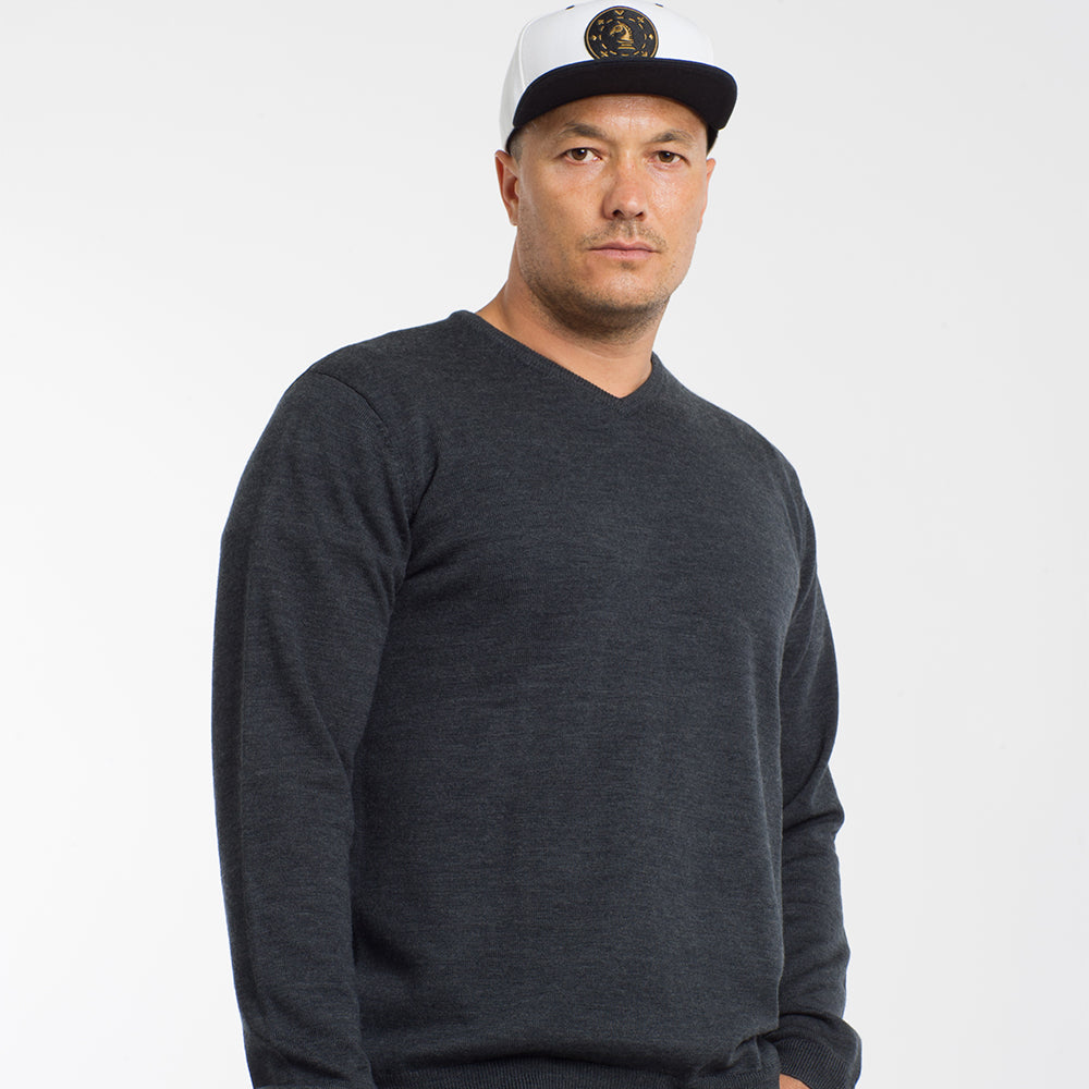 Charcoal Grey V Neck Premium Merino Sweater