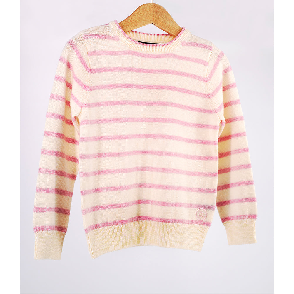 Kids Dusky Pink Stripe Crew Neck Premium Merino Sweater