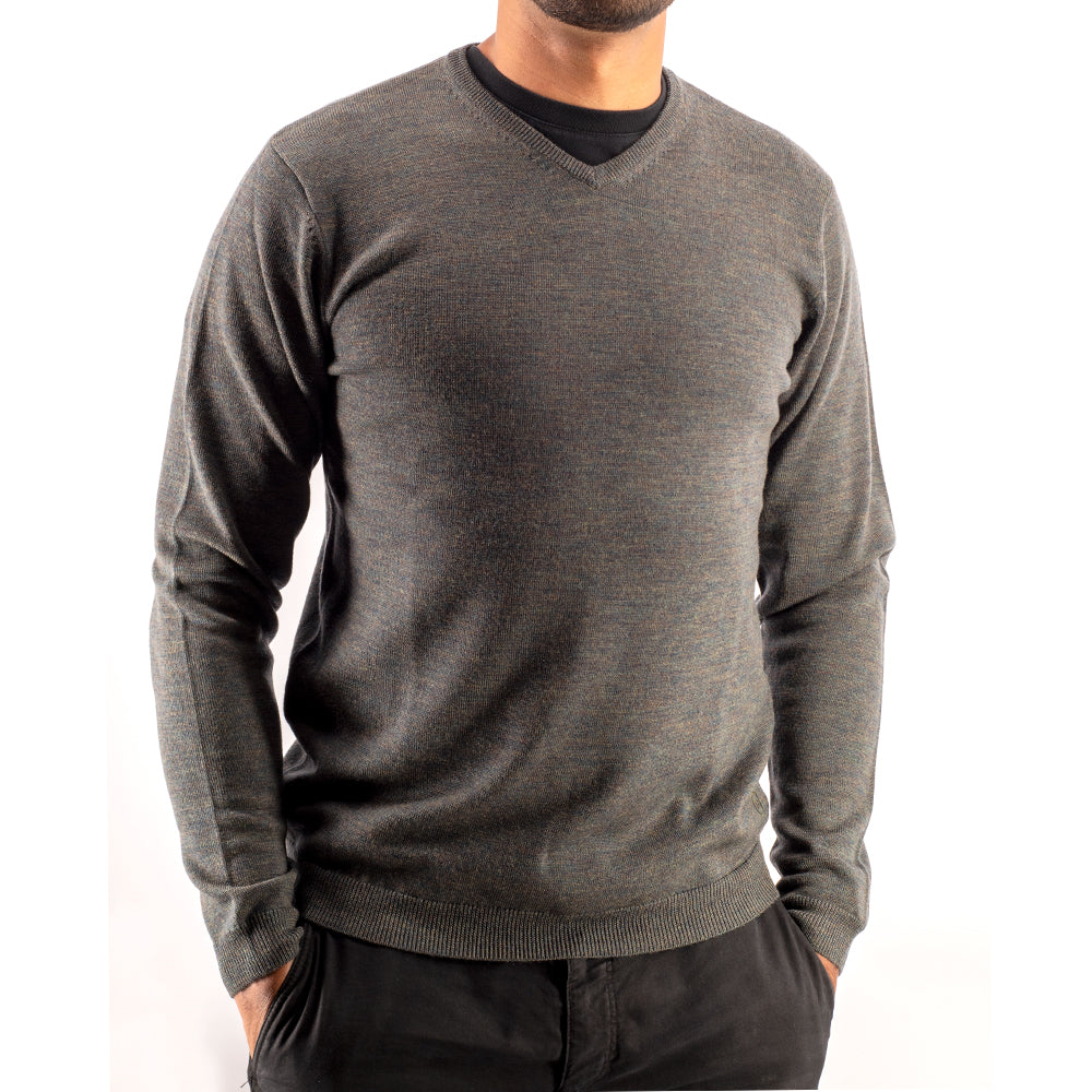 Hunter Green V Neck Premium Merino Sweater