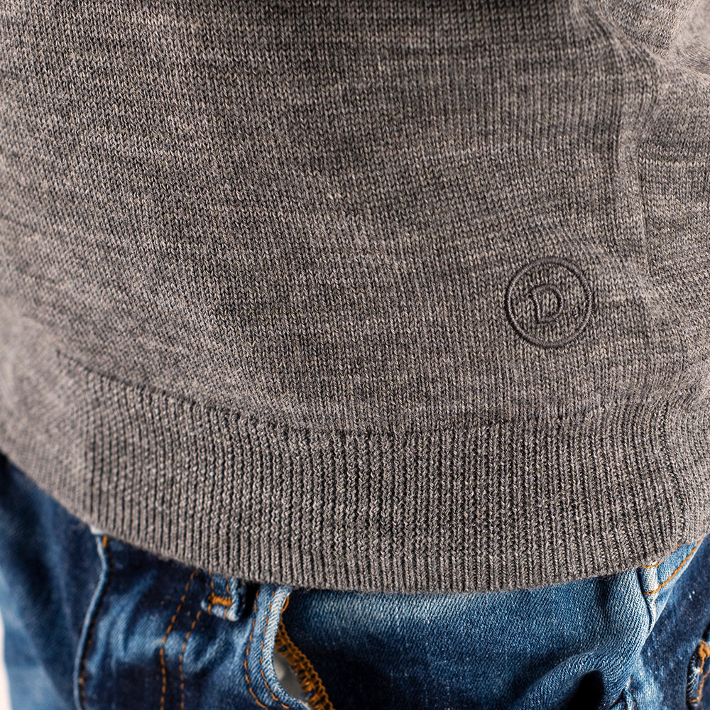 Kids Light Grey Crew Neck Premium Merino Sweater