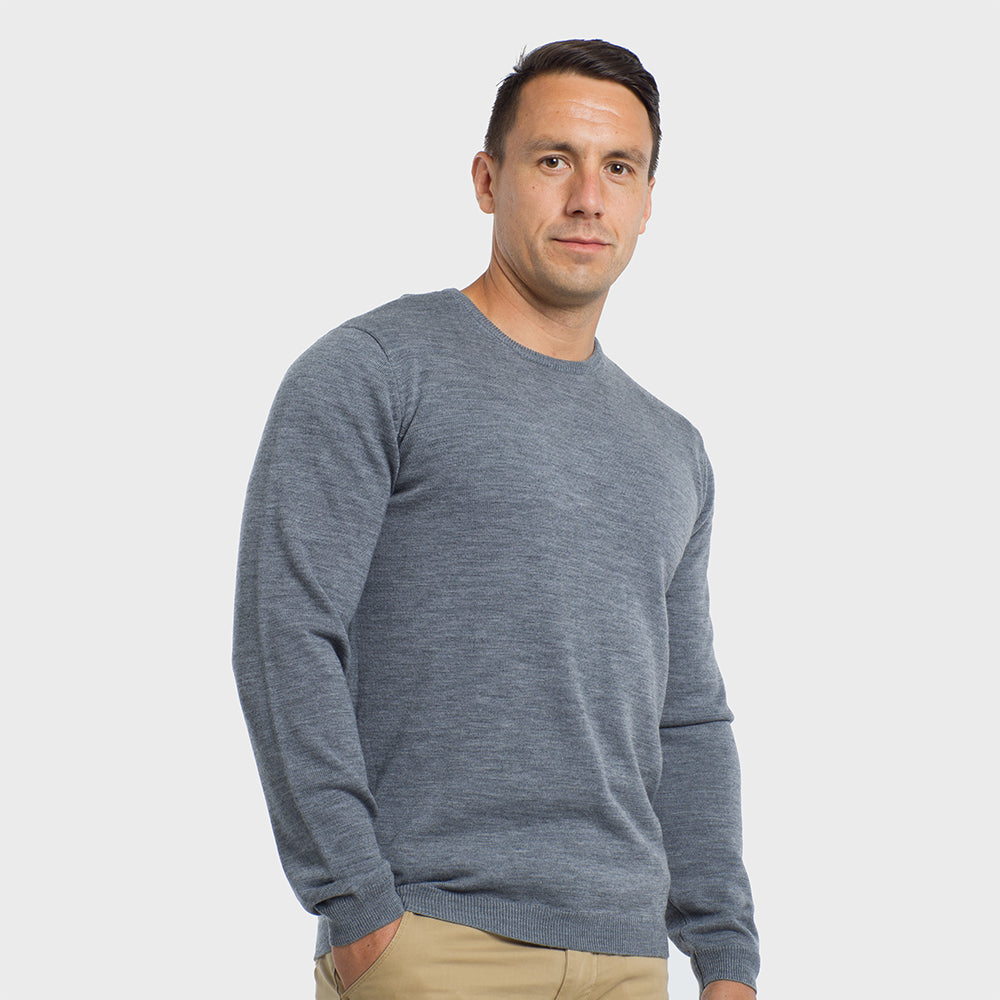 Heather Grey Crew Neck Premium Merino Sweater