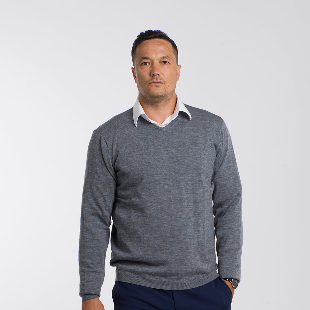 Heather Grey V Neck Premium Merino Sweater