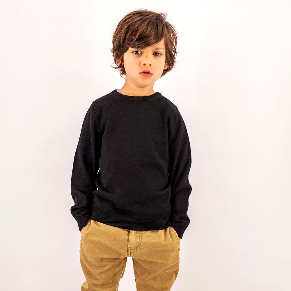Kids Midnight Black Crew Neck Premium Merino Sweater