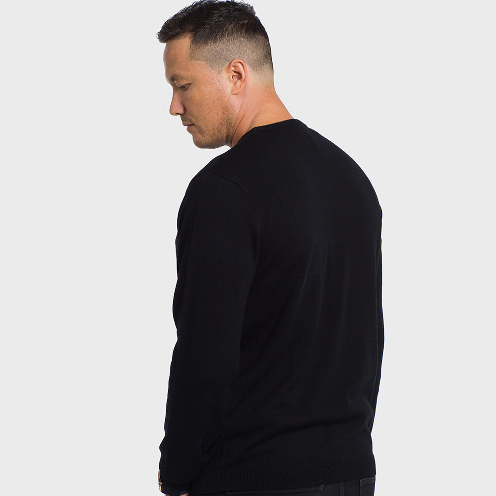 Midnight Black Crew Neck Premium Merino Sweater