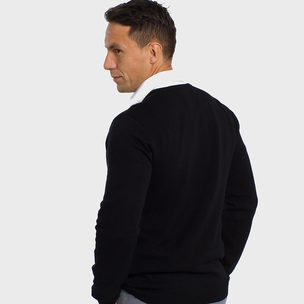 Midnight Black V Neck Premium Merino Sweater