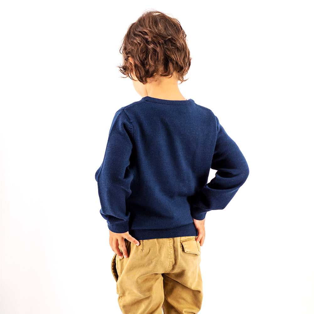Kids Dark Navy Crew Neck Premium Merino Sweater