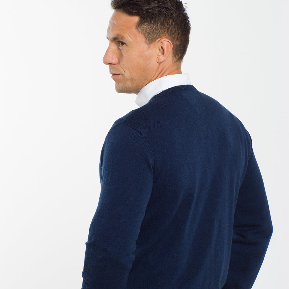 Dark Navy Crew Neck Premium Merino Sweater