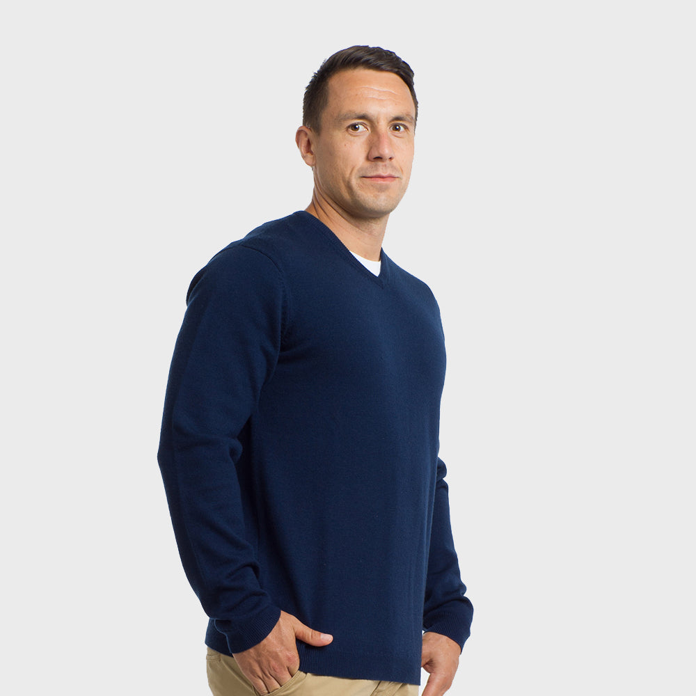 Dark Navy V Neck Premium Merino Sweater