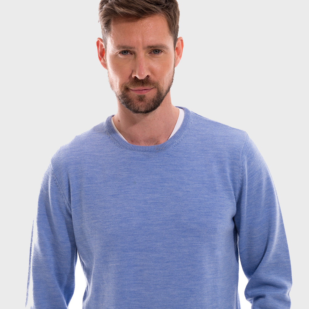Sky Blue Crew Neck Premium Merino Sweater