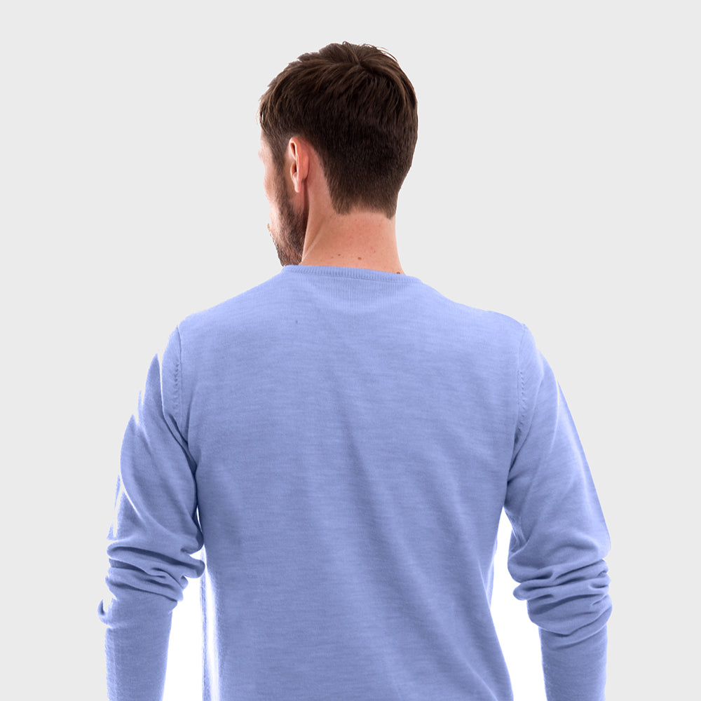 Sky Blue V Neck Premium Merino Sweater