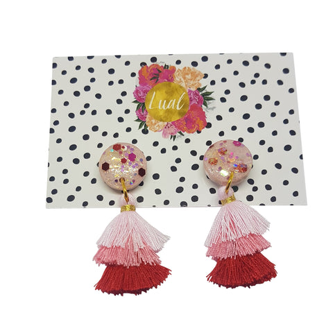 Red Triple Treat Tassel Earrings by Lual