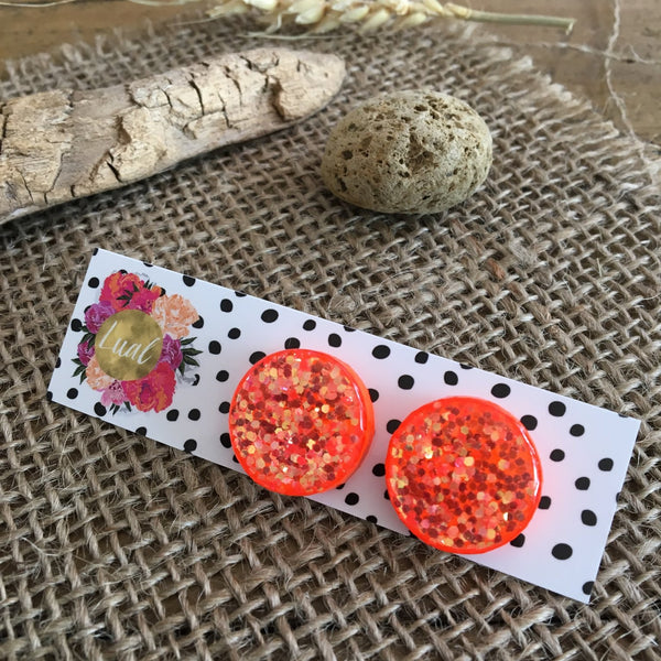 Gold on Neon Orange Studs by Lual