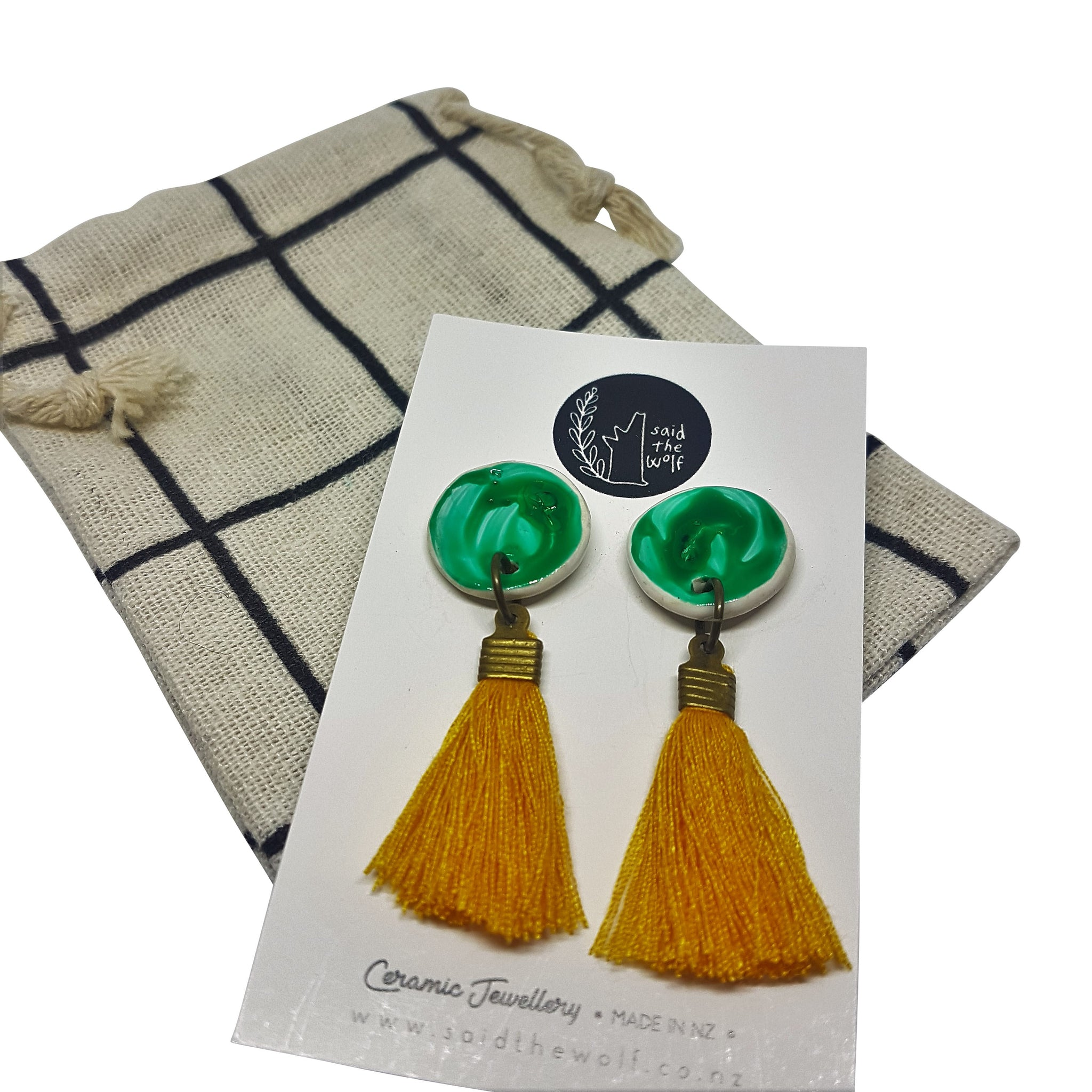 Tassel Ceramic Stud Earrings by Said The Wolf
