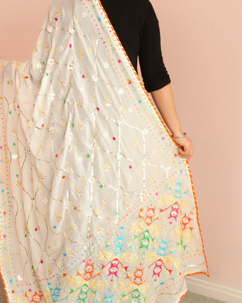 White Sequins +Mirror Phulkari