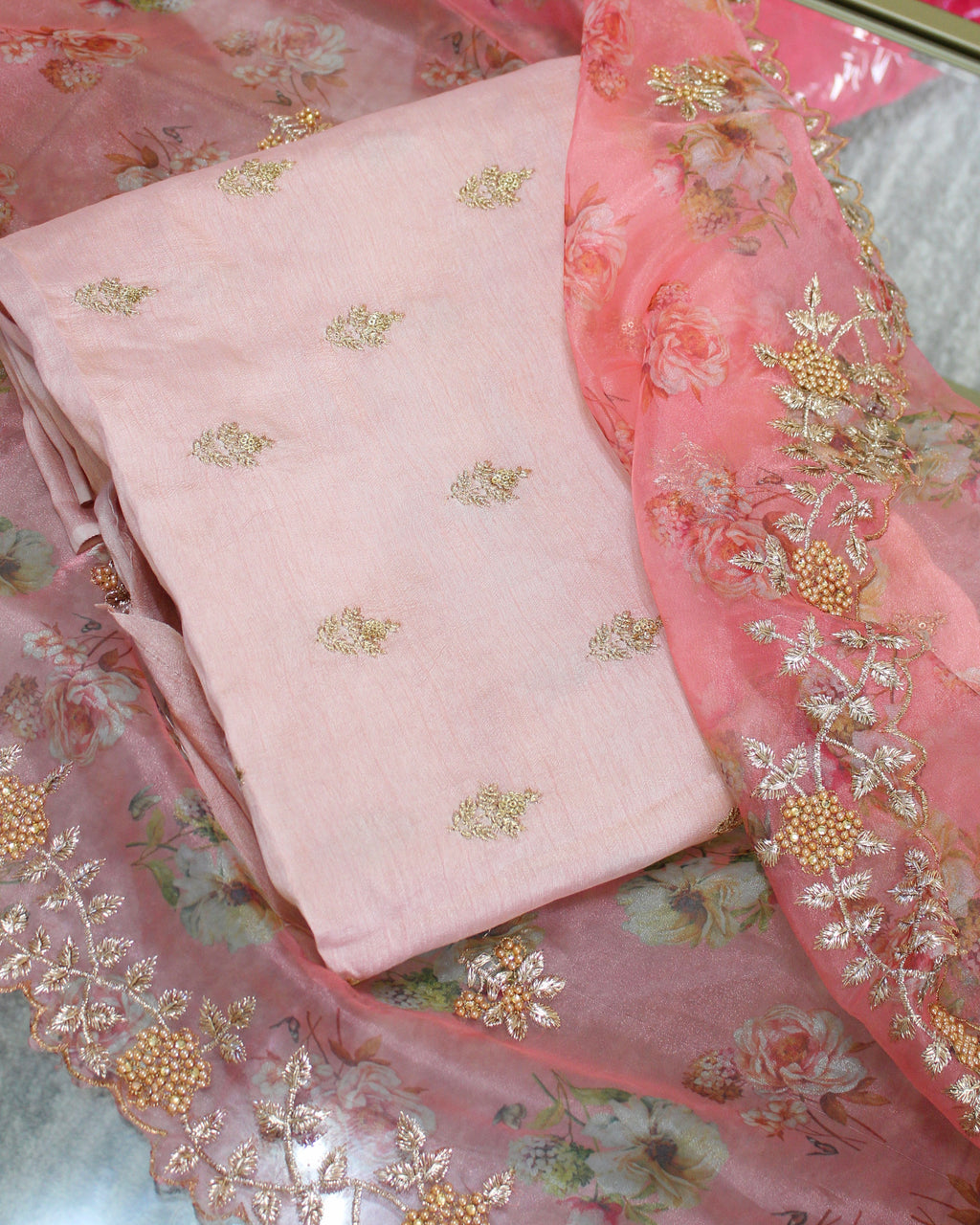 Raw Silk Embroidered Unstitch Suit with Organza Dupatta