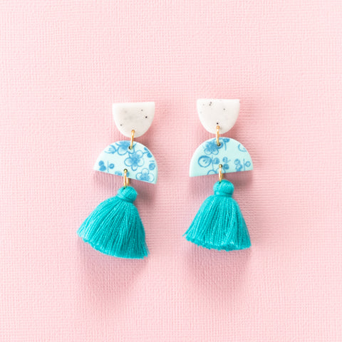 Meave Earrings - Floral Turquoise