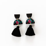 Spring Rose Earrings - Black
