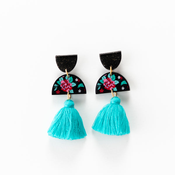 Spring Rose Earrings - Turquoise
