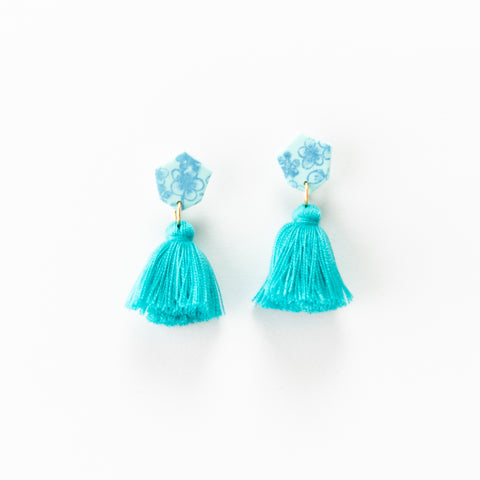 Fleur Earrings - Floral Turquoise