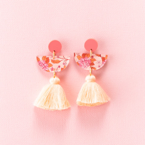 Spring Rose Earrings - Coral