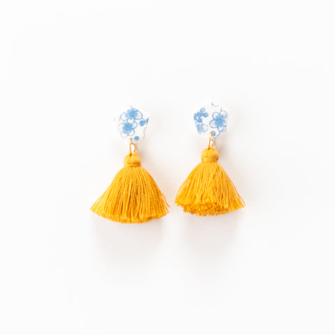 Fleur Earrings - Floral Mustard