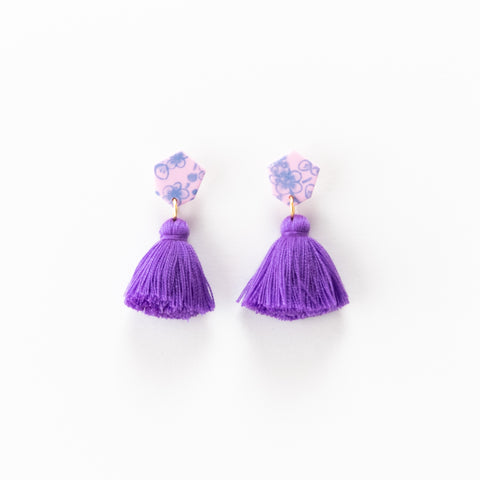 Fleur Earrings - Floral Purple