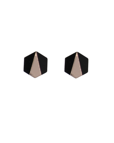 Deco Hex Earrings - Black & Rose