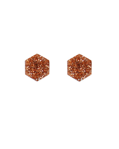 Glitter Hex Earrings - Rose